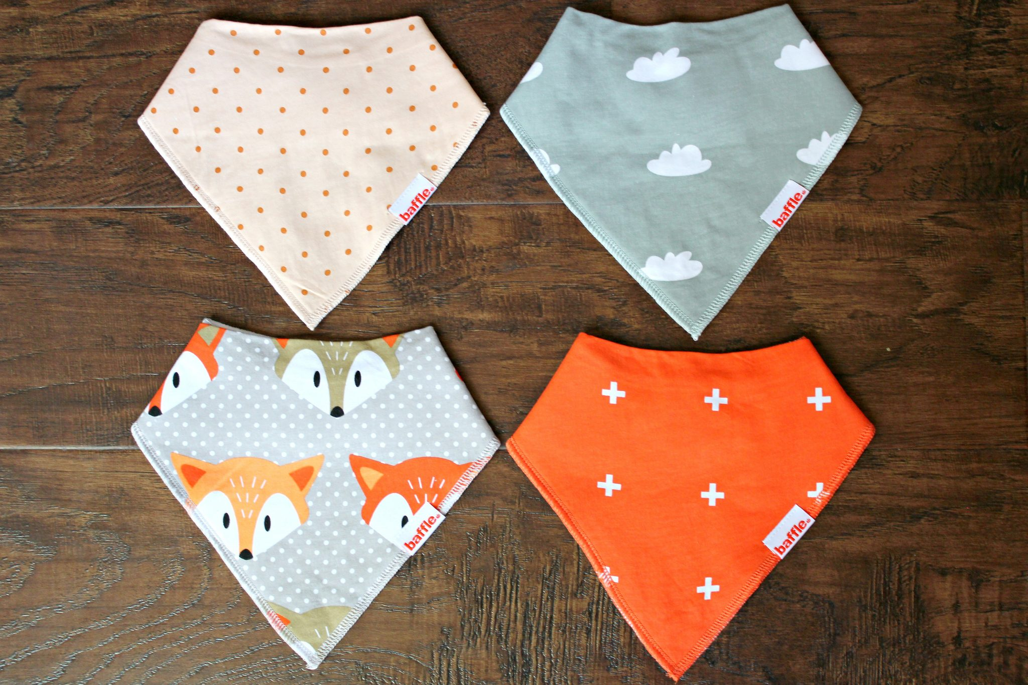 The bandana drool bibs by Baffle Baby are a baby accessory must have! graphic