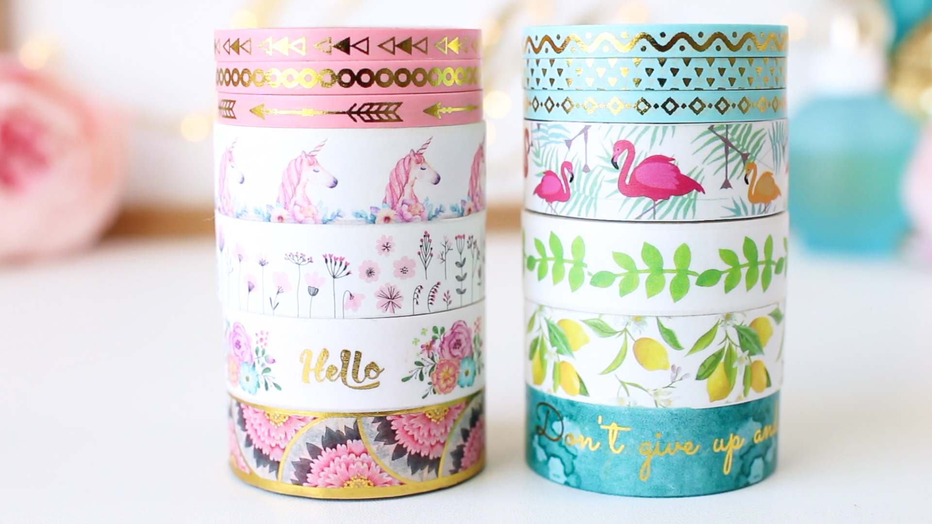 Washi Tape on Amazon: Premium Flamingo & Unicorn Washi Tape Set! graphic