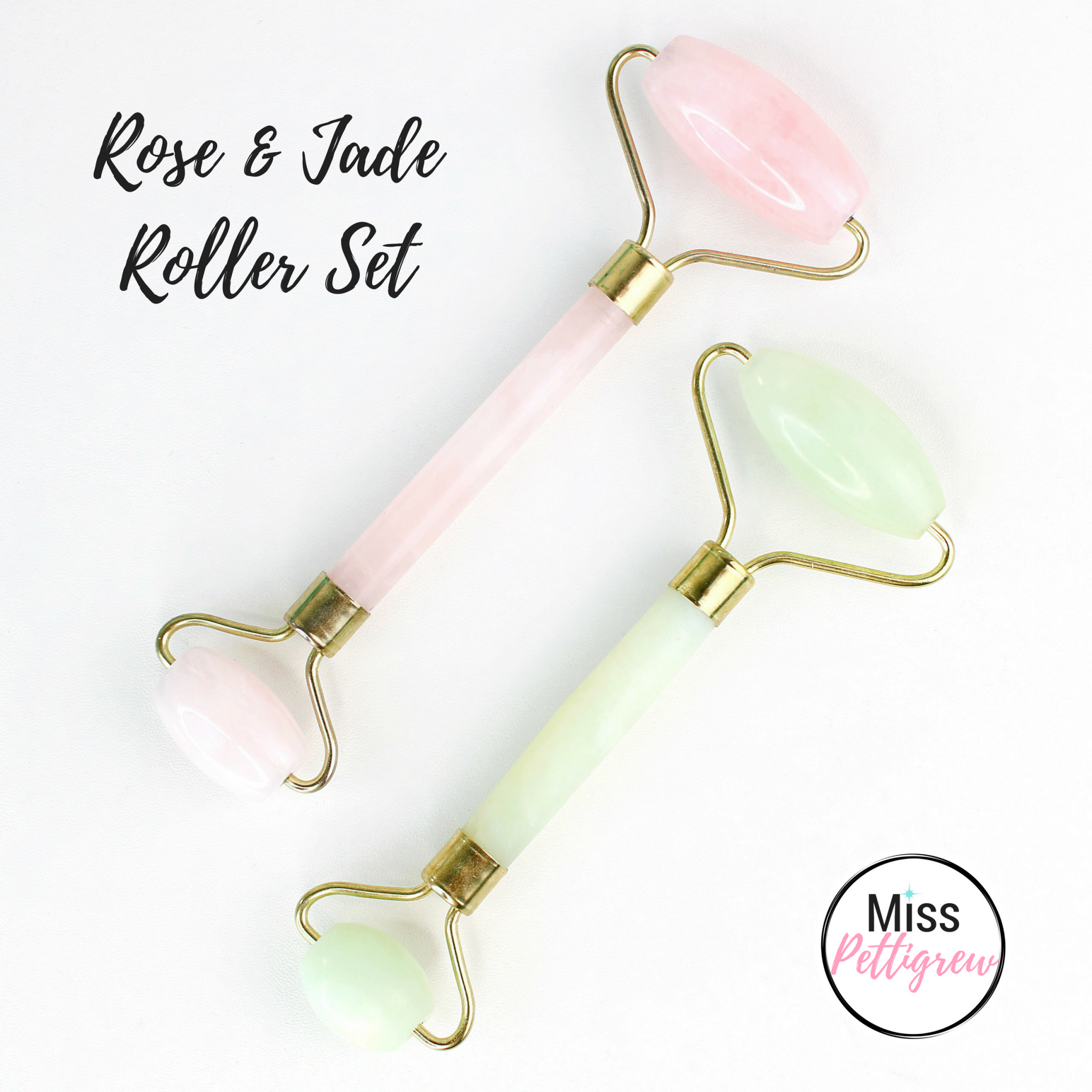 Jade Facial Roller & Rose Quartz Roller Set Weekend Sale! graphic